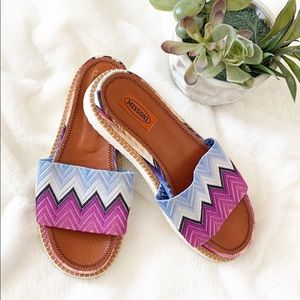 Missoni Multicolor Zig-Zag Print Fabric Slides